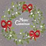 Corona del vischio di Natale con i nastri rossi Illustrazione di vettore su fondo grigio con neve Immagine Stock