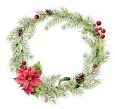 Corona dell'abete di natale dell'acquerello con agrifoglio, il vischio e la stella di Natale Corona per progettazione, stampa del Fotografie Stock Libere da Diritti