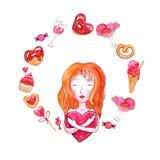 Corona dell'acquerello degli elementi per il San Valentino royalty illustrazione gratis
