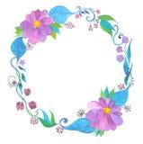Corona dell'acquerello del fiore, disegnata a mano Fotografia Stock Libera da Diritti