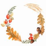 Corona dell'acquerello di autunno sul fondo della spruzzata con le foglie, cerchi doted Foglia cadente disegnata a mano, scaraboc royalty illustrazione gratis