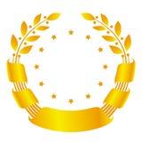 Corona dell'alloro con il nastro e le stelle Fotografia Stock