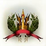 Corona dell'alloro con il nastro rosso Fotografie Stock Libere da Diritti