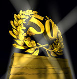 Corona dell'alloro con il numero 50 Fotografia Stock Libera da Diritti