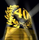 Corona dell'alloro con il numero 40 quaranta Immagine Stock Libera da Diritti