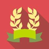 Corona dell'alloro con l'icona del nastro, stile piano illustrazione di stock