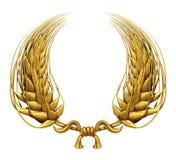 Corona dell'alloro dell'oro di frumento dorato illustrazione vettoriale