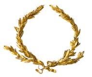 Corona dell'alloro dell'oro isolata su bianco Immagine Stock Libera da Diritti