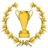 Corona dell'alloro e tazza dorate del vincitore Illustrazione di Stock