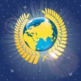 Corona dell'alloro intorno al pianeta Terra. Vista dello spazio Fotografie Stock Libere da Diritti