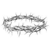 Corona dell'illustrazione disegnata a mano di vettore di simbolo religioso delle spine Fotografia Stock Libera da Diritti