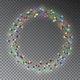 Corona della ghirlanda, decorazioni della corda di Natale Luci di Natale w Fotografie Stock