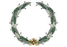 Corona della struttura di Natale con le foglie verdi dell'arco e del nastro illustrazione vettoriale