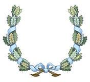 Corona della struttura di Natale con le foglie verdi dell'arco e del nastro royalty illustrazione gratis
