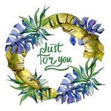 Corona delle foglie dei tropici in uno stile dell'acquerello Fotografia Stock