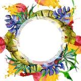 Corona delle foglie dei tropici in uno stile dell'acquerello Fotografie Stock