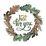 Corona delle foglie della quercia in uno stile dell'acquerello Fotografia Stock