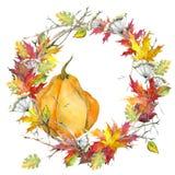 Corona delle foglie di autunno Acero, quercia e zucca watercolor Isolato su priorità bassa bianca illustrazione di stock