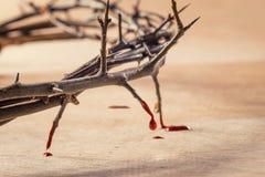 Corona delle spine con la sgocciolatura del sangue Fotografie Stock