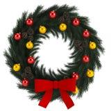 Corona di arrivo di Natale isolata su bianco Fotografia Stock Libera da Diritti