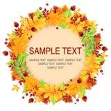 Corona di autunno delle foglie e delle bacche di giallo Fotografia Stock Libera da Diritti