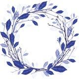 Corona di inverno dell'illustrazione delle foglie e dei ramoscelli Fotografie Stock Libere da Diritti