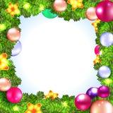 Corona di Natale con abete ed agrifoglio Fotografie Stock Libere da Diritti