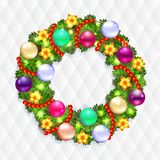 Corona di Natale con abete ed agrifoglio Fotografia Stock