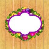 Corona di Natale con abete ed agrifoglio Fotografia Stock Libera da Diritti