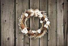 Corona di Natale con e cotone immagini stock libere da diritti