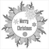 Corona di Natale con gli articoli da arredamento, in bianco e nero Coloritura di vettore su un tema del nuovo anno Scheda festiva illustrazione di stock