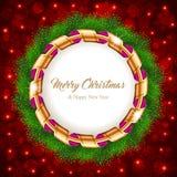 Corona di Natale con il nastro Fotografia Stock Libera da Diritti