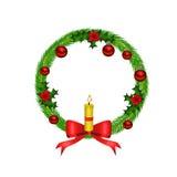 Corona di natale con l'arco e la candela rossi Fotografia Stock