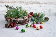 Corona di Natale con la decorazione Immagini Stock Libere da Diritti