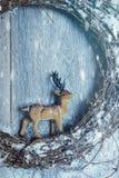 Corona di Natale con la renna Immagini Stock