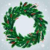 Corona di Natale con le caramelle Immagini Stock Libere da Diritti
