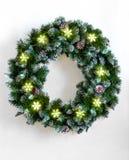 Corona di Natale con le luci fotografia stock