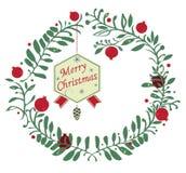 Corona di Natale del melograno Immagini Stock