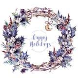 Corona di Natale dell'acquerello fatta di Holly Branches Immagini Stock