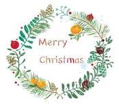 Corona di Natale della clementina e del melograno Immagine Stock