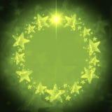Corona di Natale delle stelle dorate sopra fondo verde con testo illustrazione vettoriale