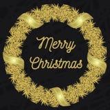 Corona di Natale di colore dorato Fotografia Stock Libera da Diritti
