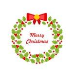 Corona di Natale fatta di Holly Berries Immagini Stock