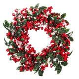 Corona di Natale isolata sui precedenti bianchi Fotografia Stock Libera da Diritti
