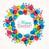 Corona di Pasqua con le uova variopinte Fotografia Stock Libera da Diritti