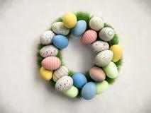 Corona di Pasqua fatta delle uova variopinte e dell'erba verde 3 realistici Immagine Stock Libera da Diritti