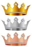 Corona di rame d'argento della corona dell'oro fotografia stock
