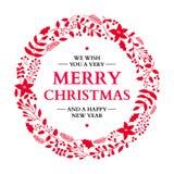 Corona di scarabocchio di Natale con il saluto Scheda di festa di vettore Natale Fotografia Stock