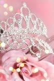 Corona di scintillio con le rose rosa Fotografie Stock Libere da Diritti