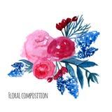 Corona di vettore dell'acquerello Progettazione floreale della struttura Fotografia Stock Libera da Diritti
